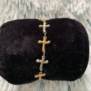 Jewelry - ✨TWO TONE CROSS BRACELET✨
